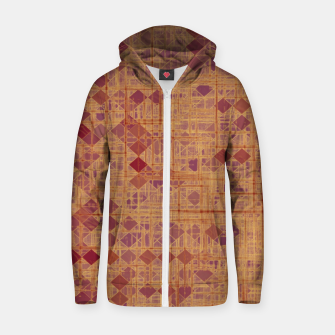 geometric square pixel pattern abstract in brown and pink Zip up hoodie thumbnail image