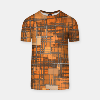 geometric square pattern abstract background in orange and brown T-shirt thumbnail image