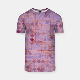 geometric square pixel pattern abstract in pink and purple T-shirt thumbnail image