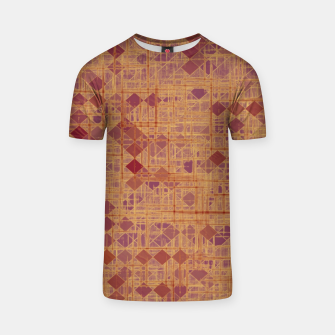 geometric square pixel pattern abstract in brown and pink T-shirt thumbnail image
