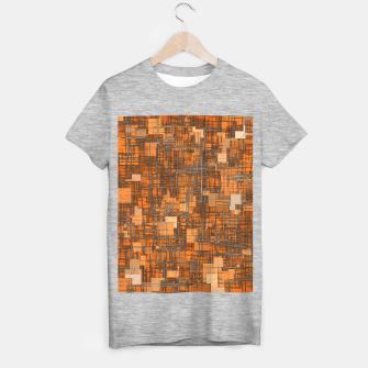 geometric square pattern abstract background in orange and brown T-shirt regular thumbnail image