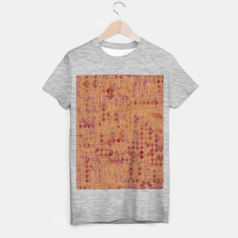 geometric square pixel pattern abstract in brown and pink T-shirt regular thumbnail image