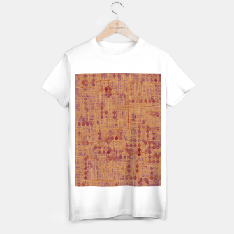 Thumbnail image of geometric square pixel pattern abstract in brown and pink T-shirt regular, Live Heroes