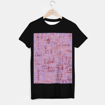Thumbnail image of geometric square pixel pattern abstract in pink and purple T-shirt regular, Live Heroes