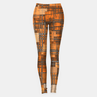 Miniatur geometric square pattern abstract background in orange and brown Leggings, Live Heroes
