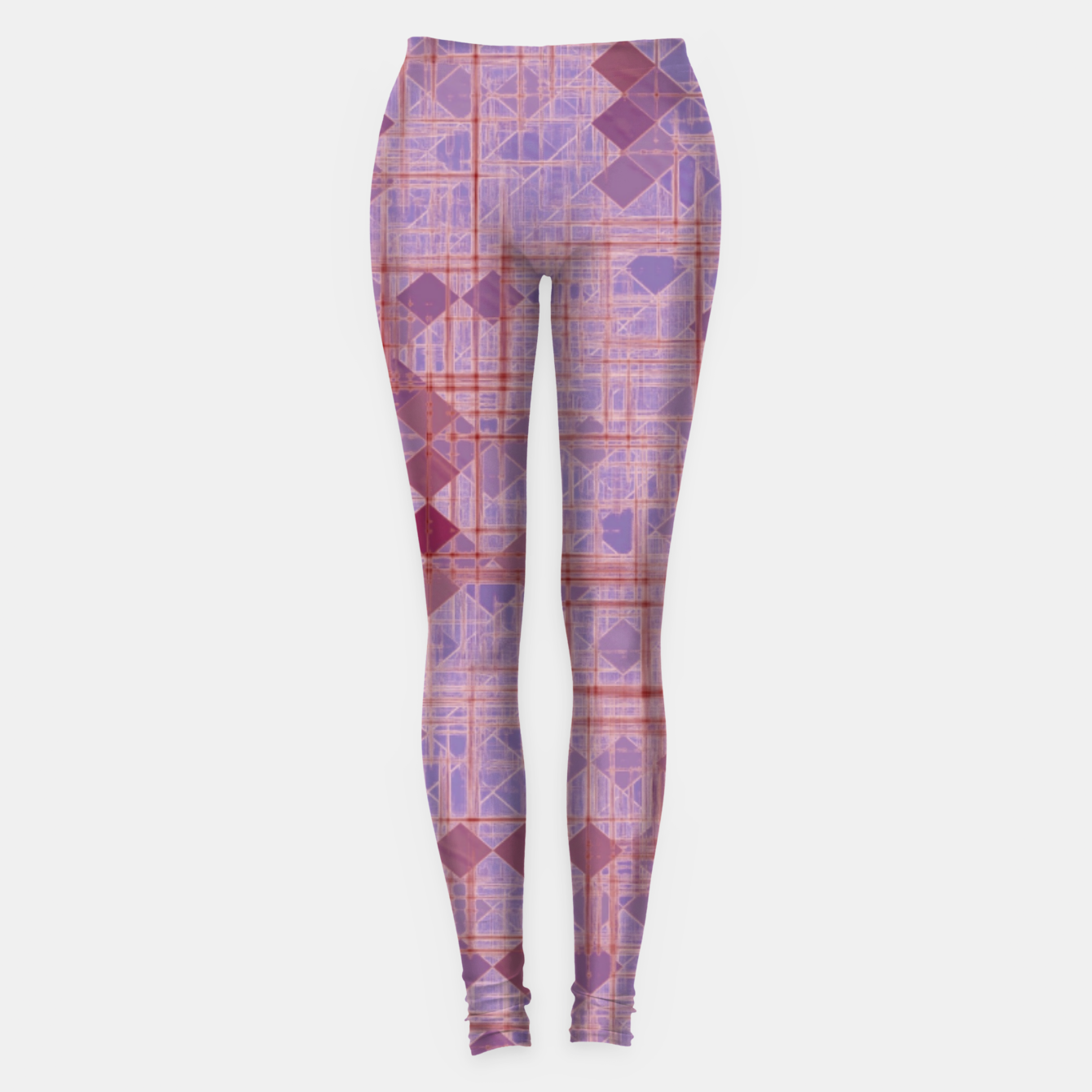 Image of geometric square pixel pattern abstract in pink and purple Leggings - Live Heroes