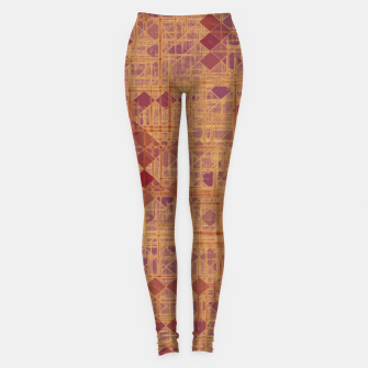 geometric square pixel pattern abstract in brown and pink Leggings thumbnail image