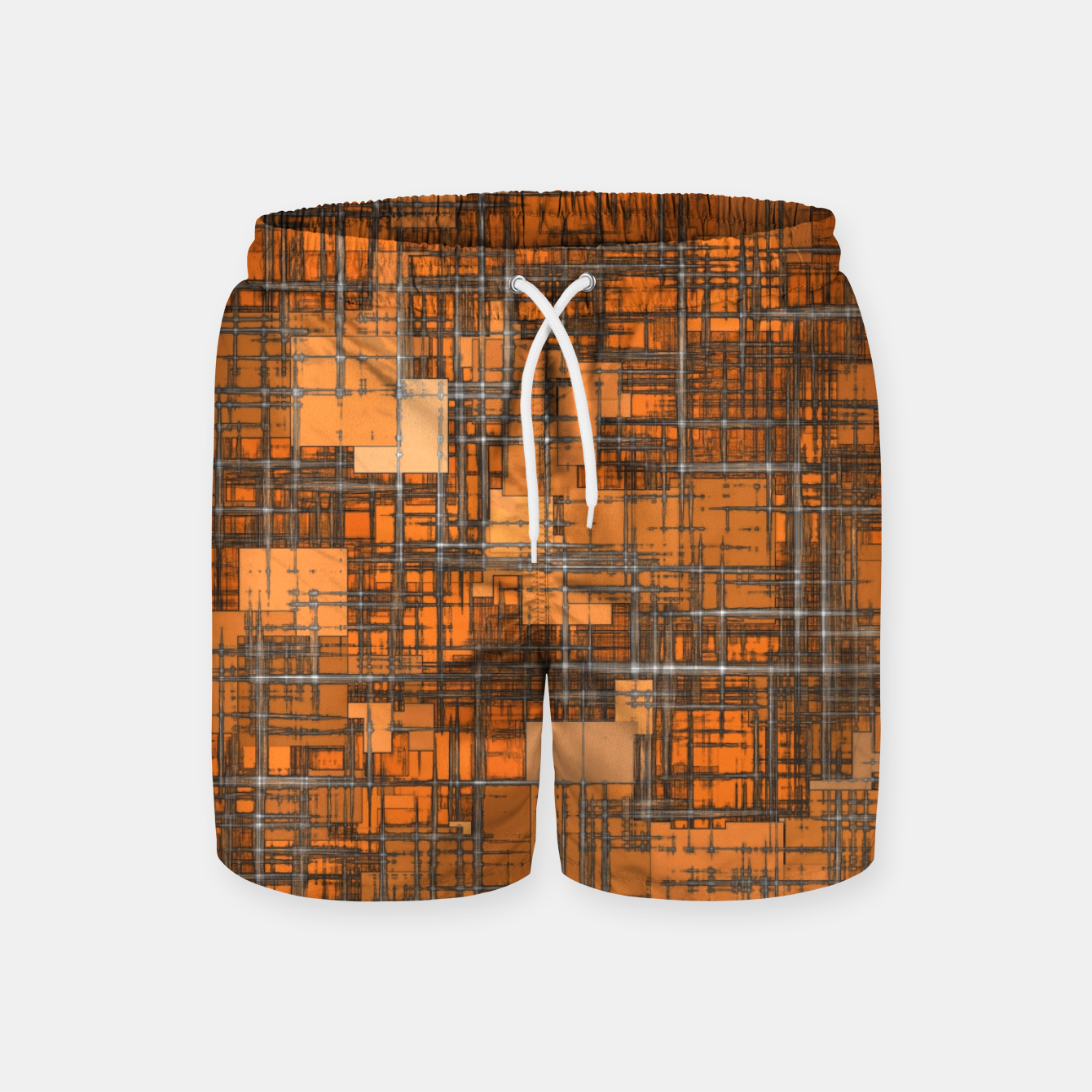 Image of geometric square pattern abstract background in orange and brown Swim Shorts - Live Heroes
