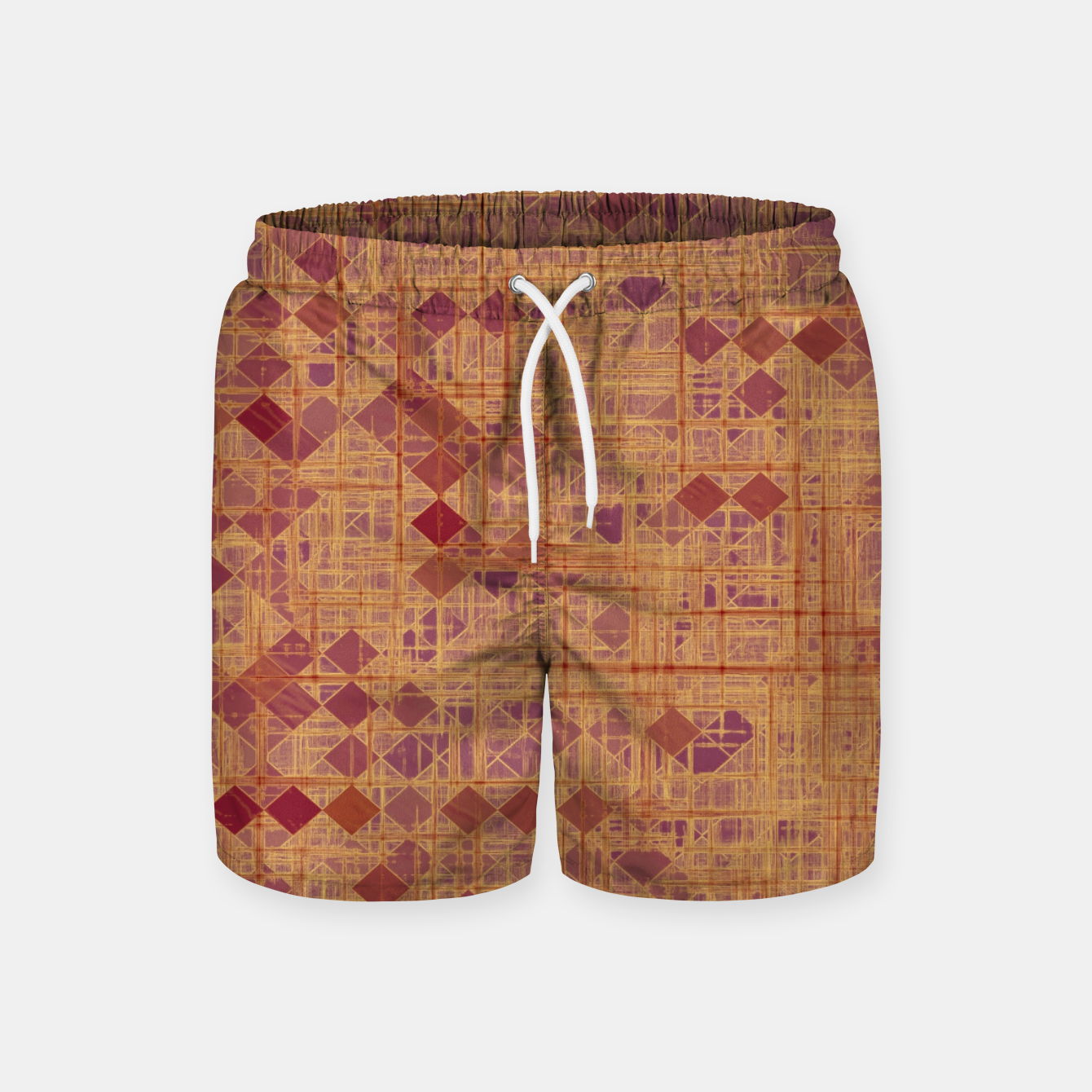 Image of geometric square pixel pattern abstract in brown and pink Swim Shorts - Live Heroes