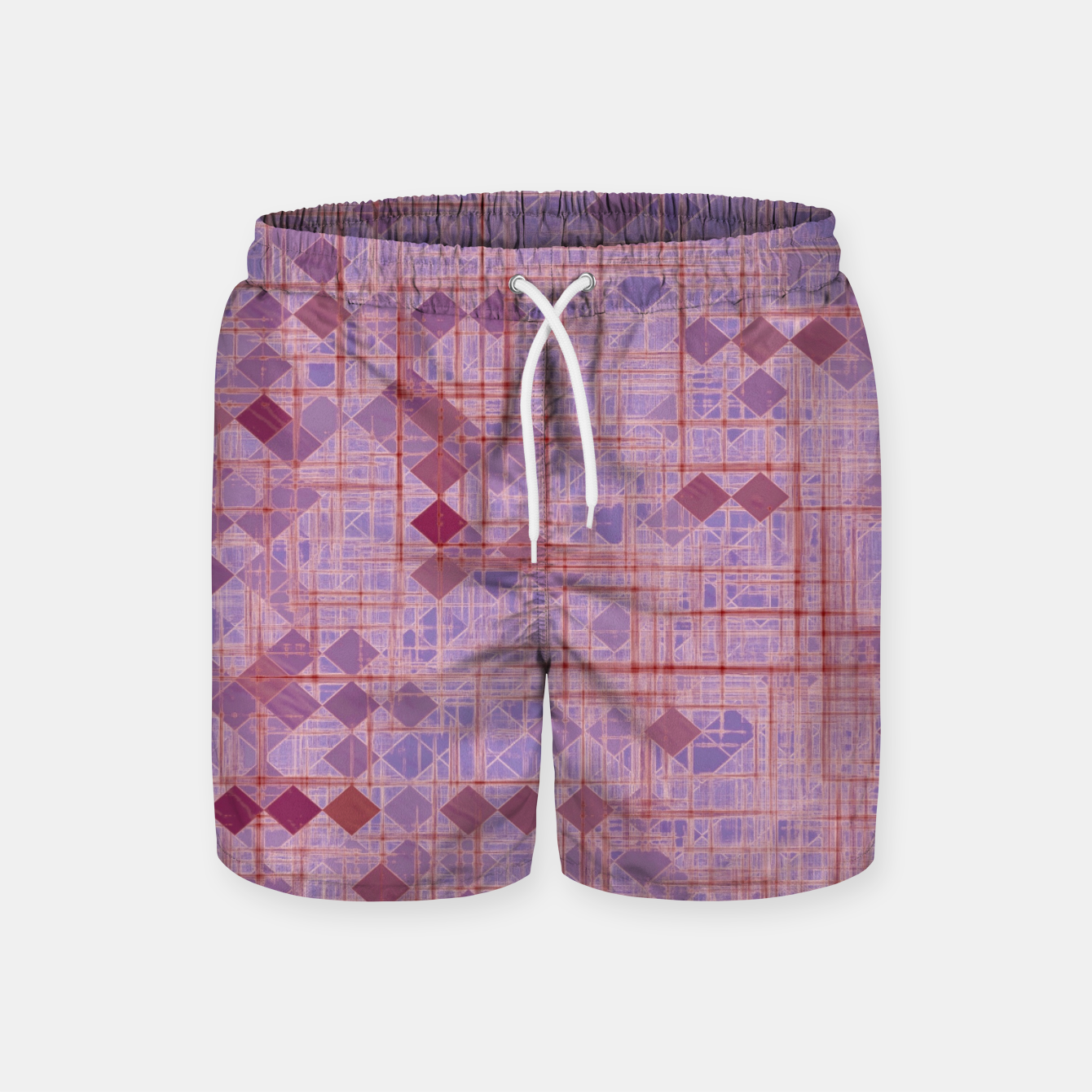 Image of geometric square pixel pattern abstract in pink and purple Swim Shorts - Live Heroes