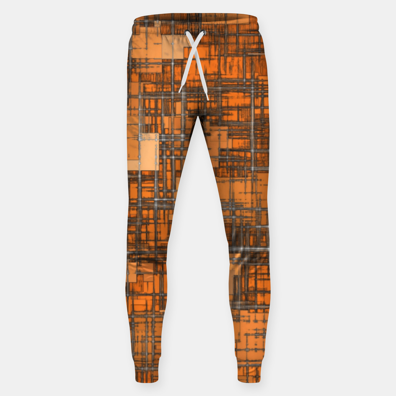 Image of geometric square pattern abstract background in orange and brown Sweatpants - Live Heroes