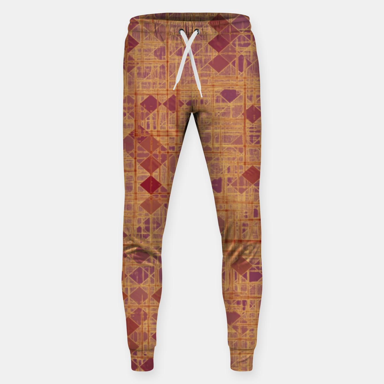 Image of geometric square pixel pattern abstract in brown and pink Sweatpants - Live Heroes