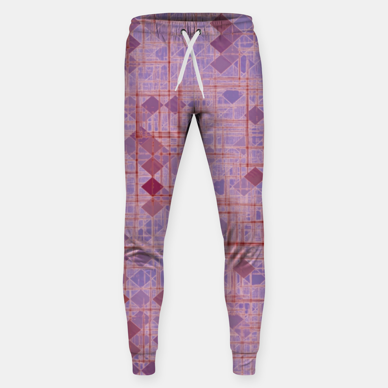 Image of geometric square pixel pattern abstract in pink and purple Sweatpants - Live Heroes