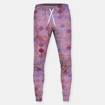 geometric square pixel pattern abstract in pink and purple Sweatpants thumbnail image