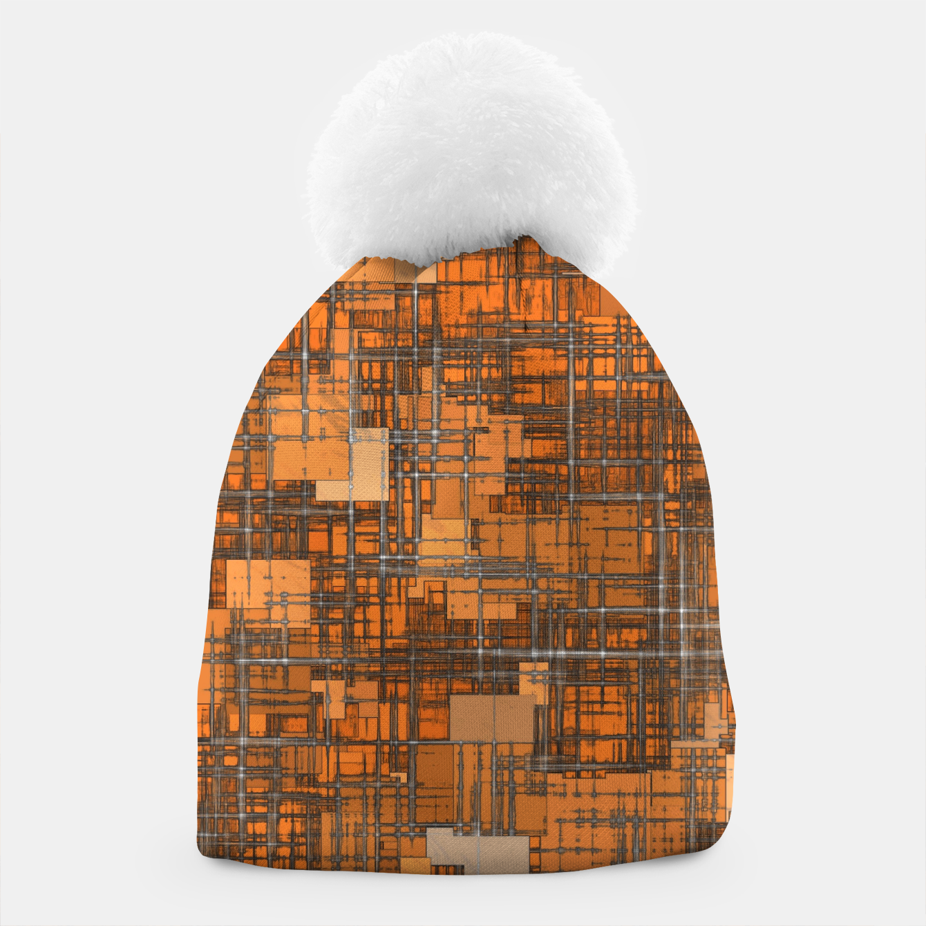 Image of geometric square pattern abstract background in orange and brown Beanie - Live Heroes