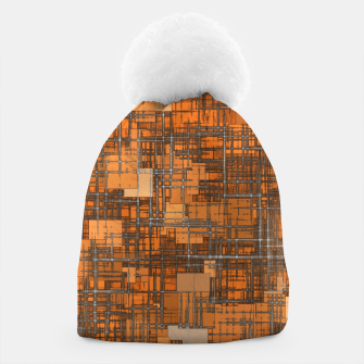 geometric square pattern abstract background in orange and brown Beanie thumbnail image