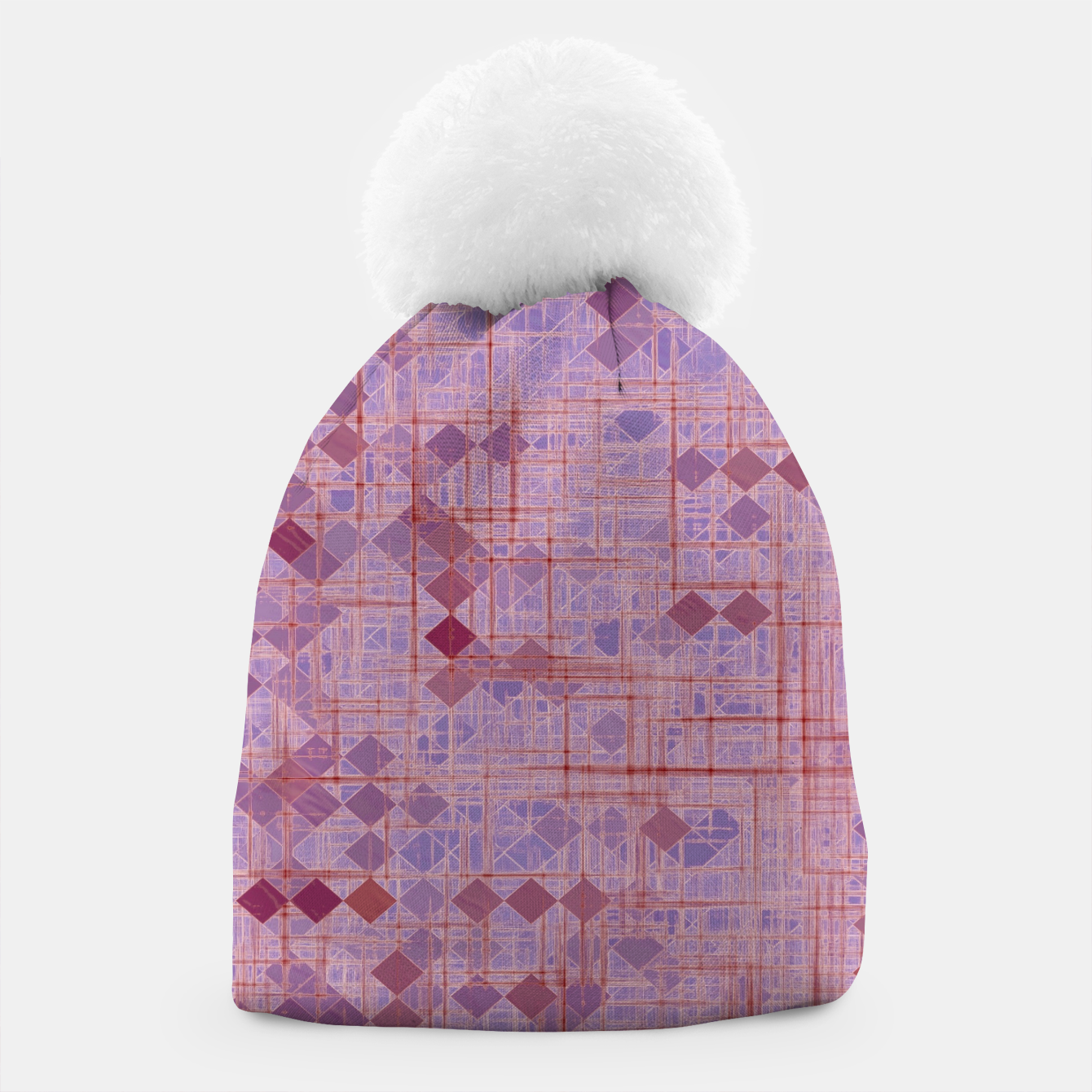 Image of geometric square pixel pattern abstract in pink and purple Beanie - Live Heroes