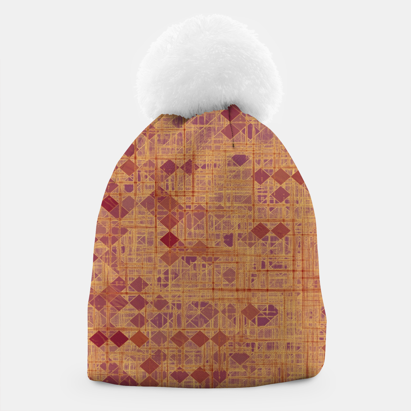 Image of geometric square pixel pattern abstract in brown and pink Beanie - Live Heroes
