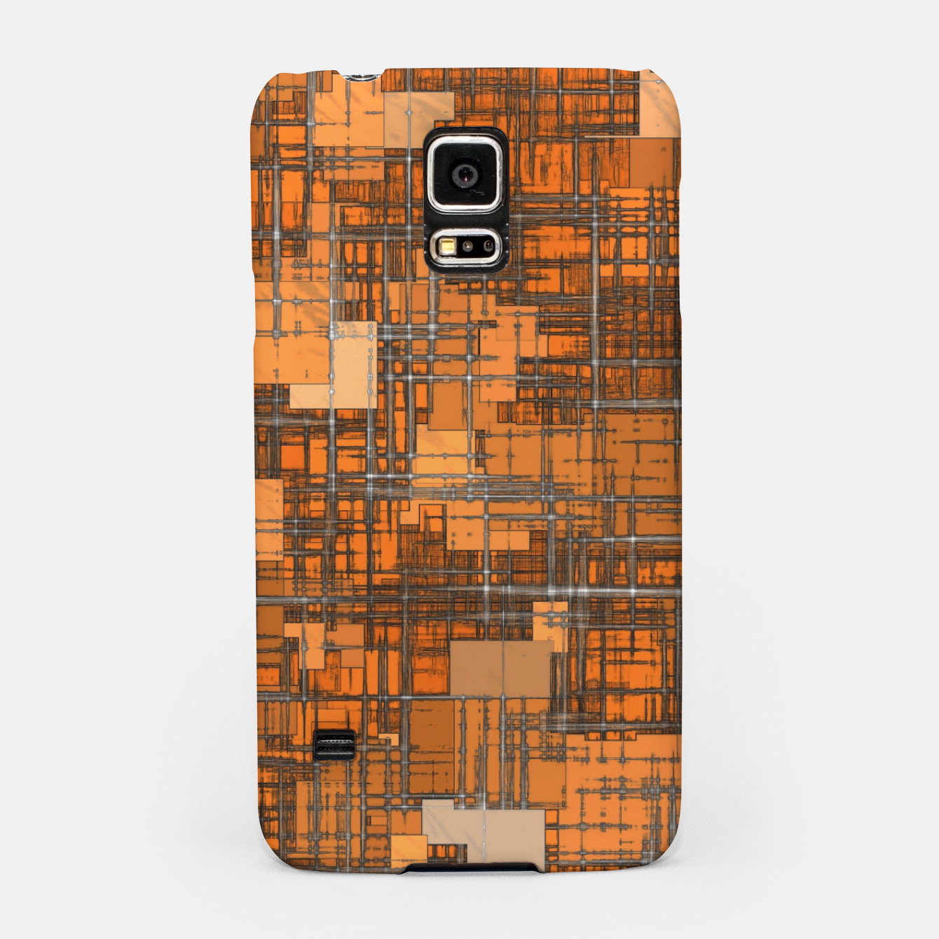 Image of geometric square pattern abstract background in orange and brown Samsung Case - Live Heroes