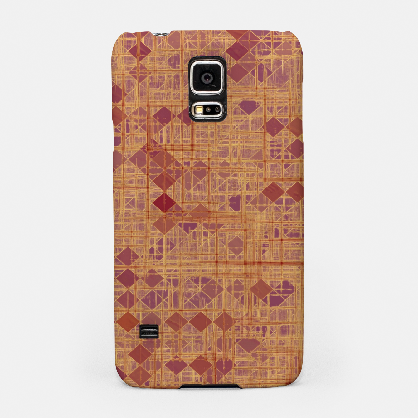 Image of geometric square pixel pattern abstract in brown and pink Samsung Case - Live Heroes