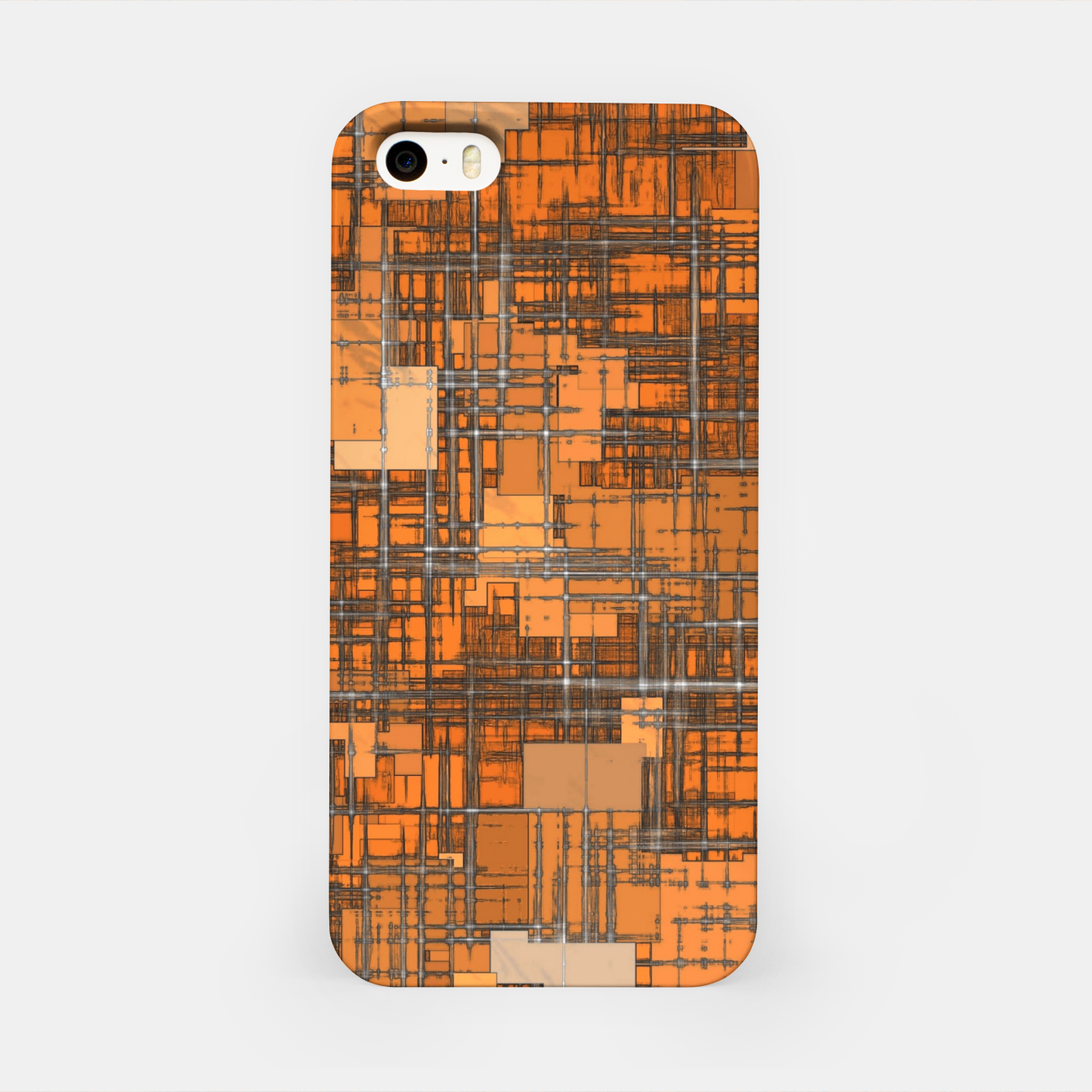 Image of geometric square pattern abstract background in orange and brown iPhone Case - Live Heroes