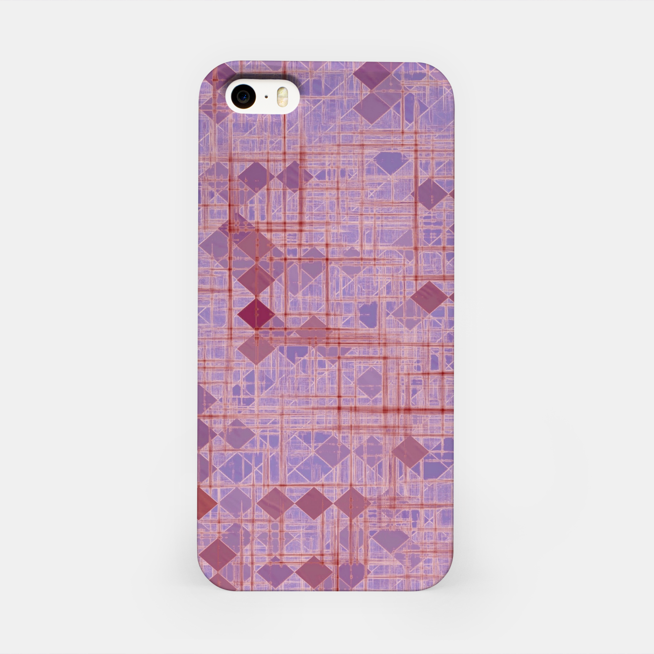 Image of geometric square pixel pattern abstract in pink and purple iPhone Case - Live Heroes