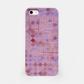 geometric square pixel pattern abstract in pink and purple iPhone Case thumbnail image