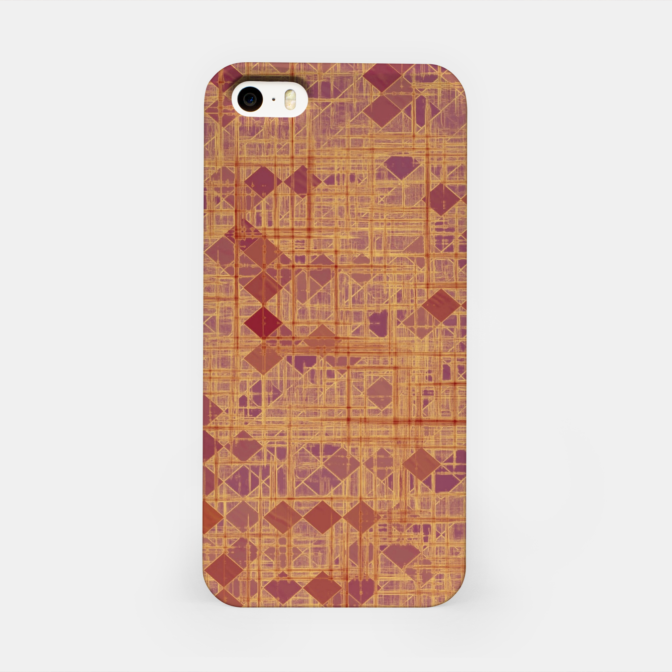 Image of geometric square pixel pattern abstract in brown and pink iPhone Case - Live Heroes