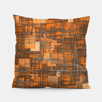 Miniatur geometric square pattern abstract background in orange and brown Pillow, Live Heroes