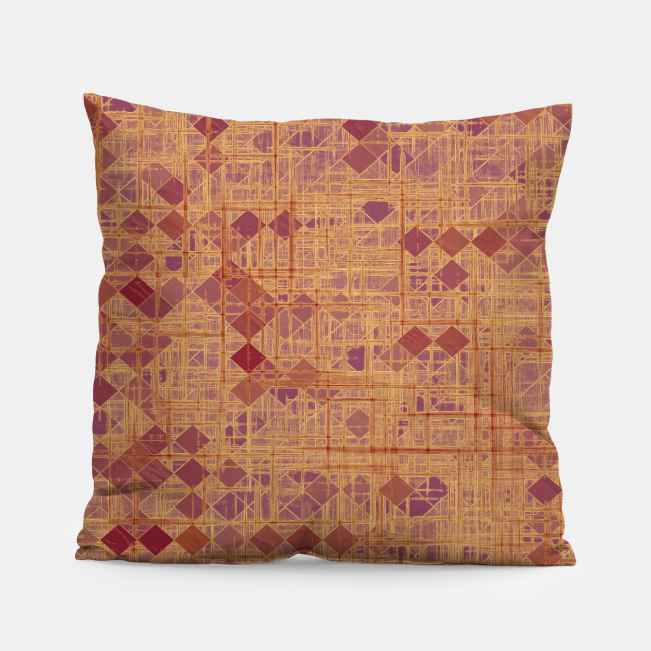 Image of geometric square pixel pattern abstract in brown and pink Pillow - Live Heroes