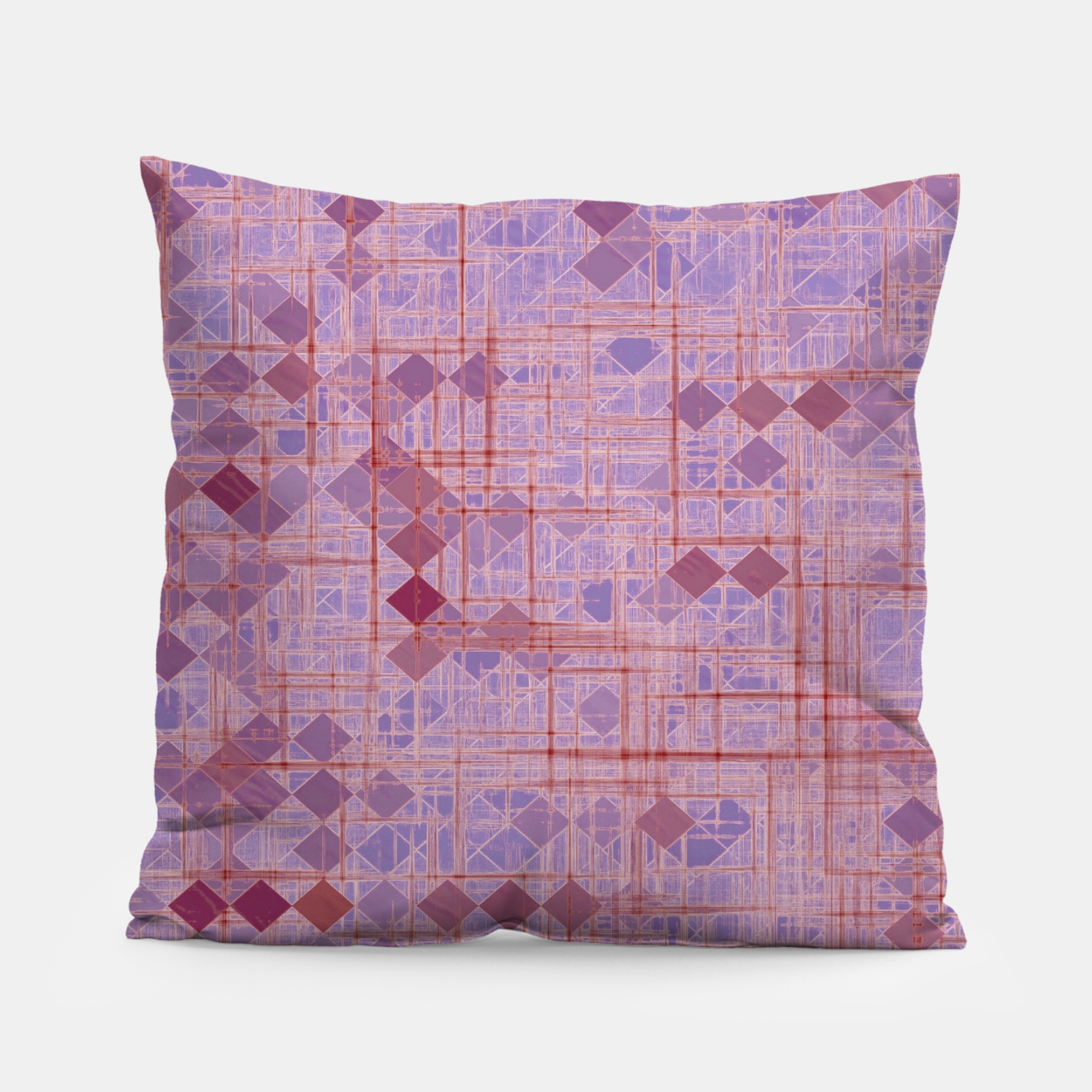 Image of geometric square pixel pattern abstract in pink and purple Pillow - Live Heroes