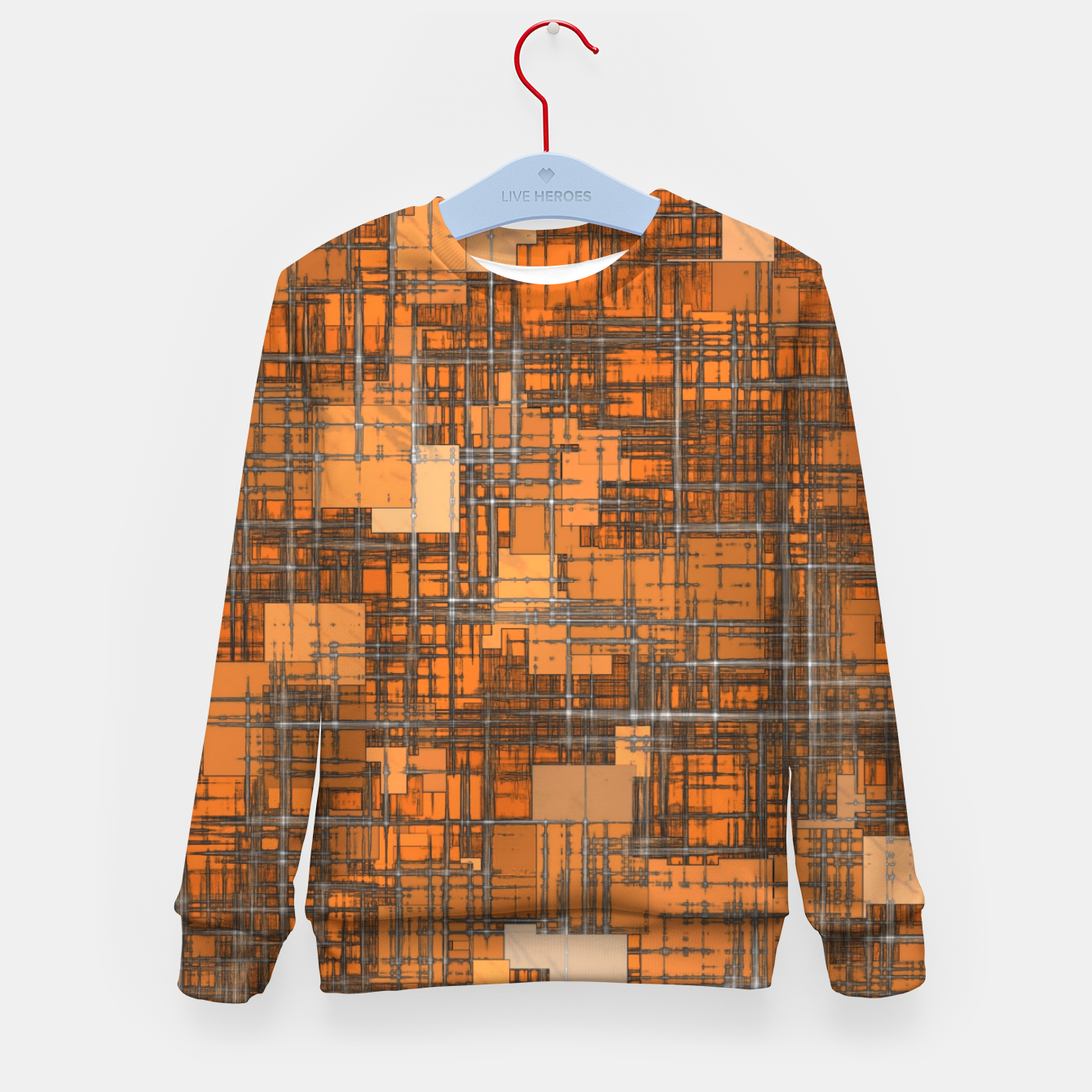 Image of geometric square pattern abstract background in orange and brown Kid's sweater - Live Heroes