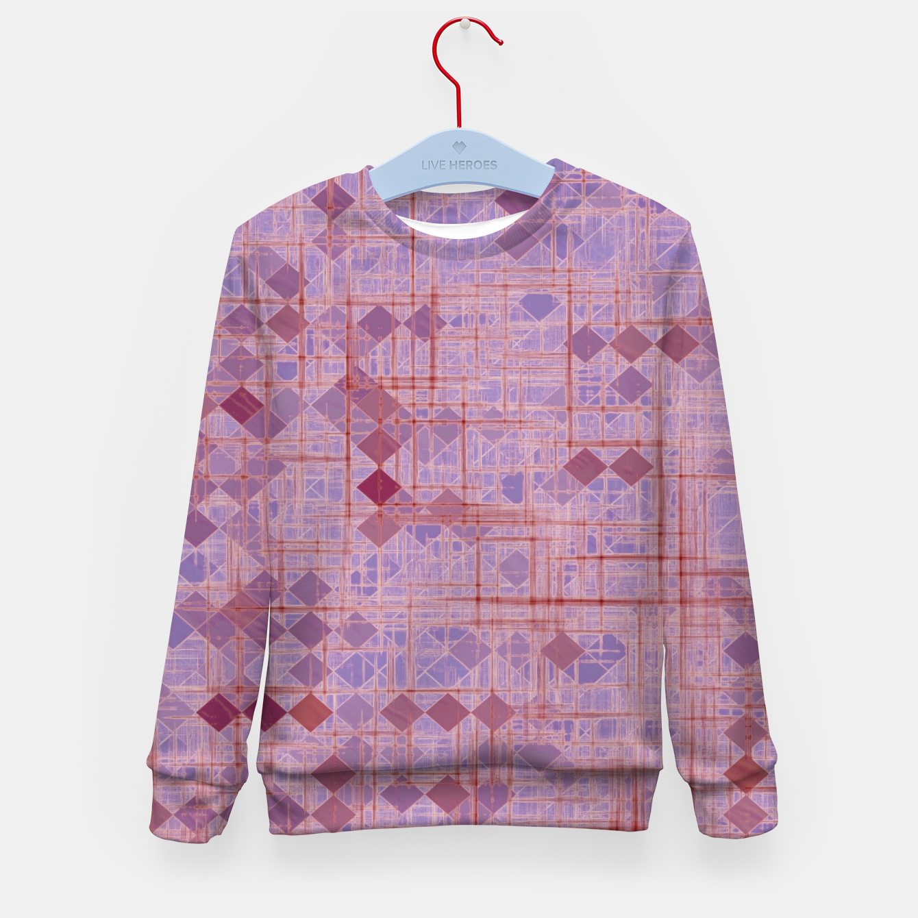 Image of geometric square pixel pattern abstract in pink and purple Kid's sweater - Live Heroes