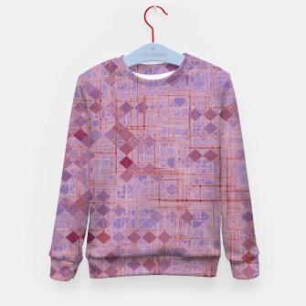 geometric square pixel pattern abstract in pink and purple Kid's sweater thumbnail image