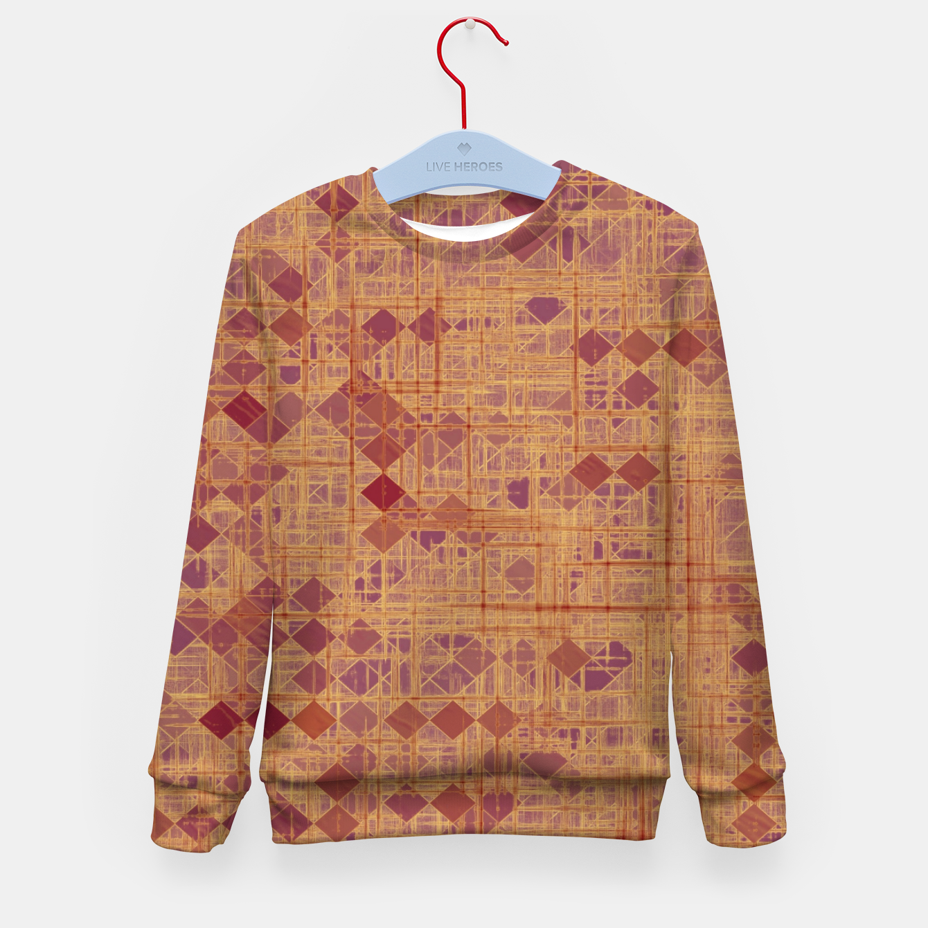 Image of geometric square pixel pattern abstract in brown and pink Kid's sweater - Live Heroes