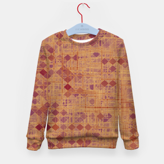 Miniatur geometric square pixel pattern abstract in brown and pink Kid's sweater, Live Heroes