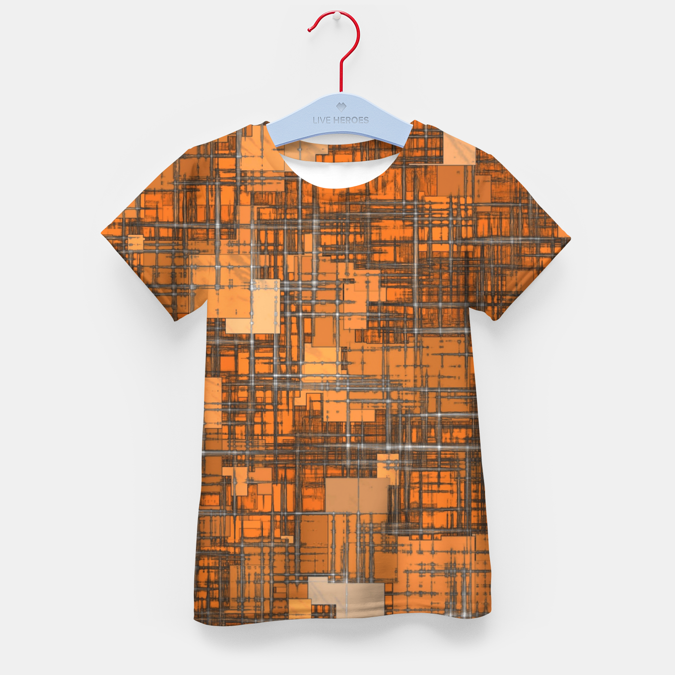 Image of geometric square pattern abstract background in orange and brown Kid's t-shirt - Live Heroes