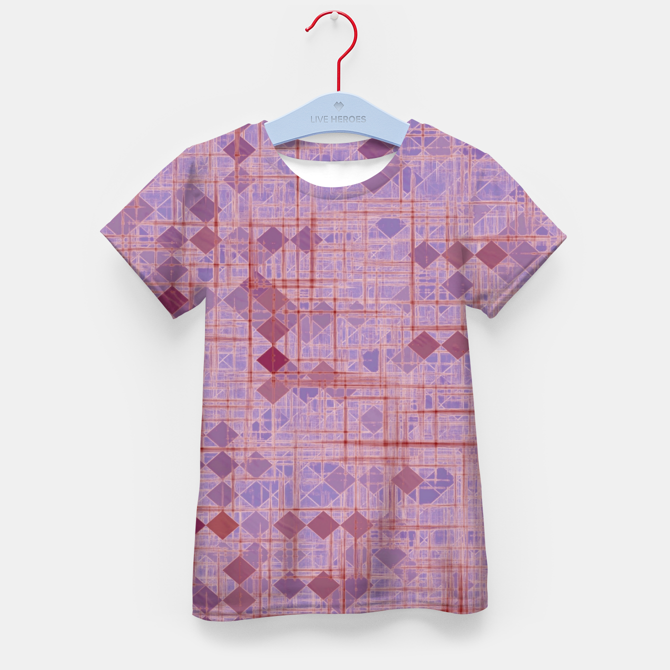 Image of geometric square pixel pattern abstract in pink and purple Kid's t-shirt - Live Heroes