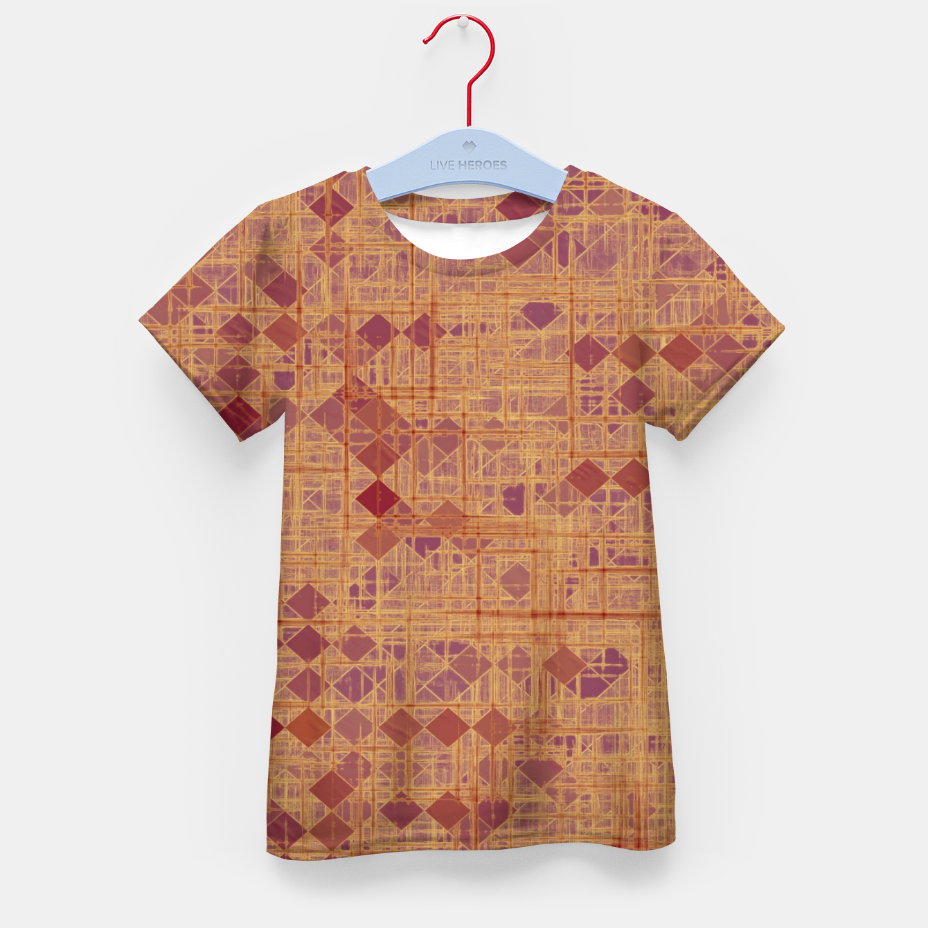 Image of geometric square pixel pattern abstract in brown and pink Kid's t-shirt - Live Heroes