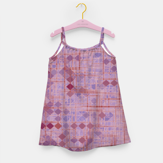 Miniatur geometric square pixel pattern abstract in pink and purple Girl's dress, Live Heroes