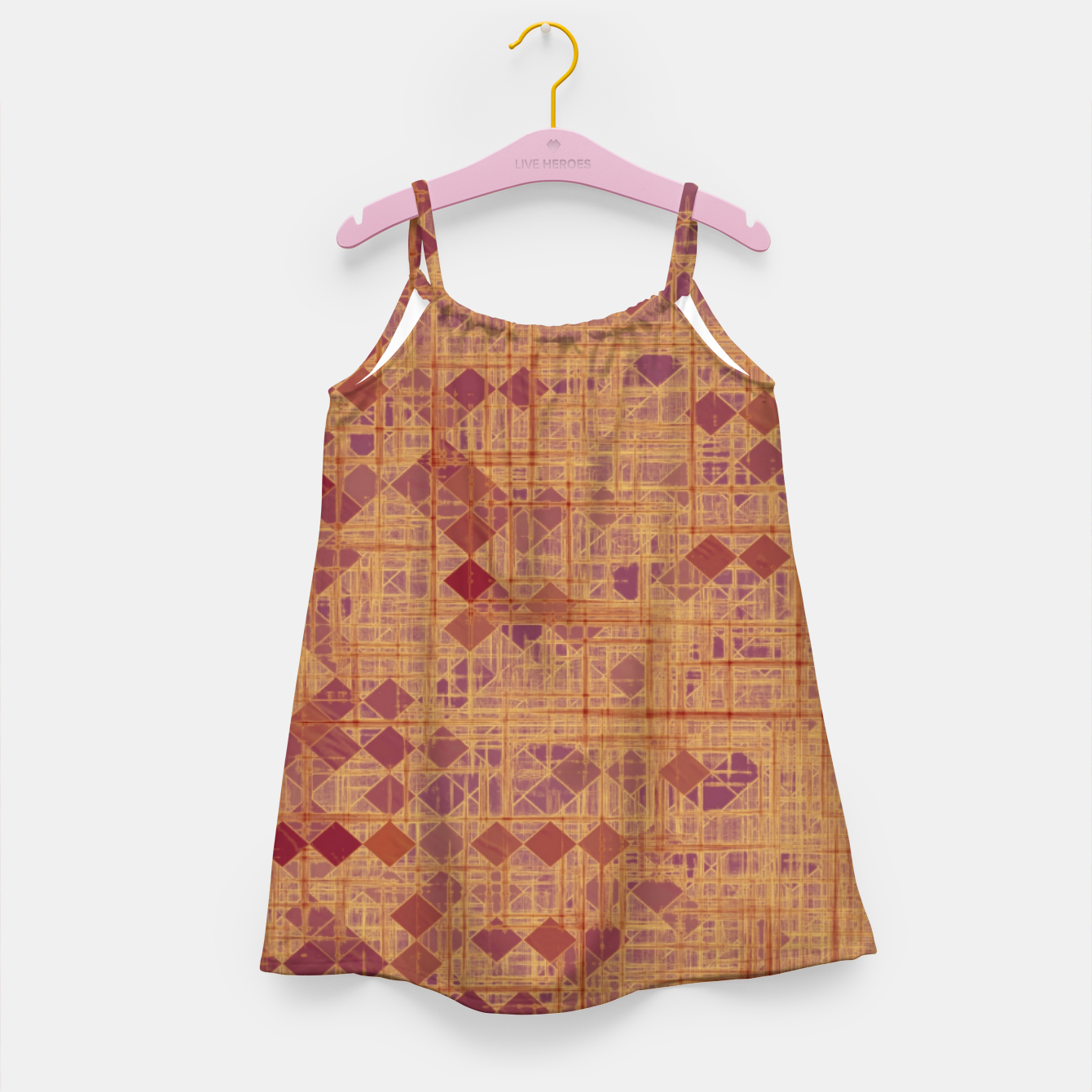 Image of geometric square pixel pattern abstract in brown and pink Girl's dress - Live Heroes