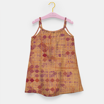 Miniatur geometric square pixel pattern abstract in brown and pink Girl's dress, Live Heroes