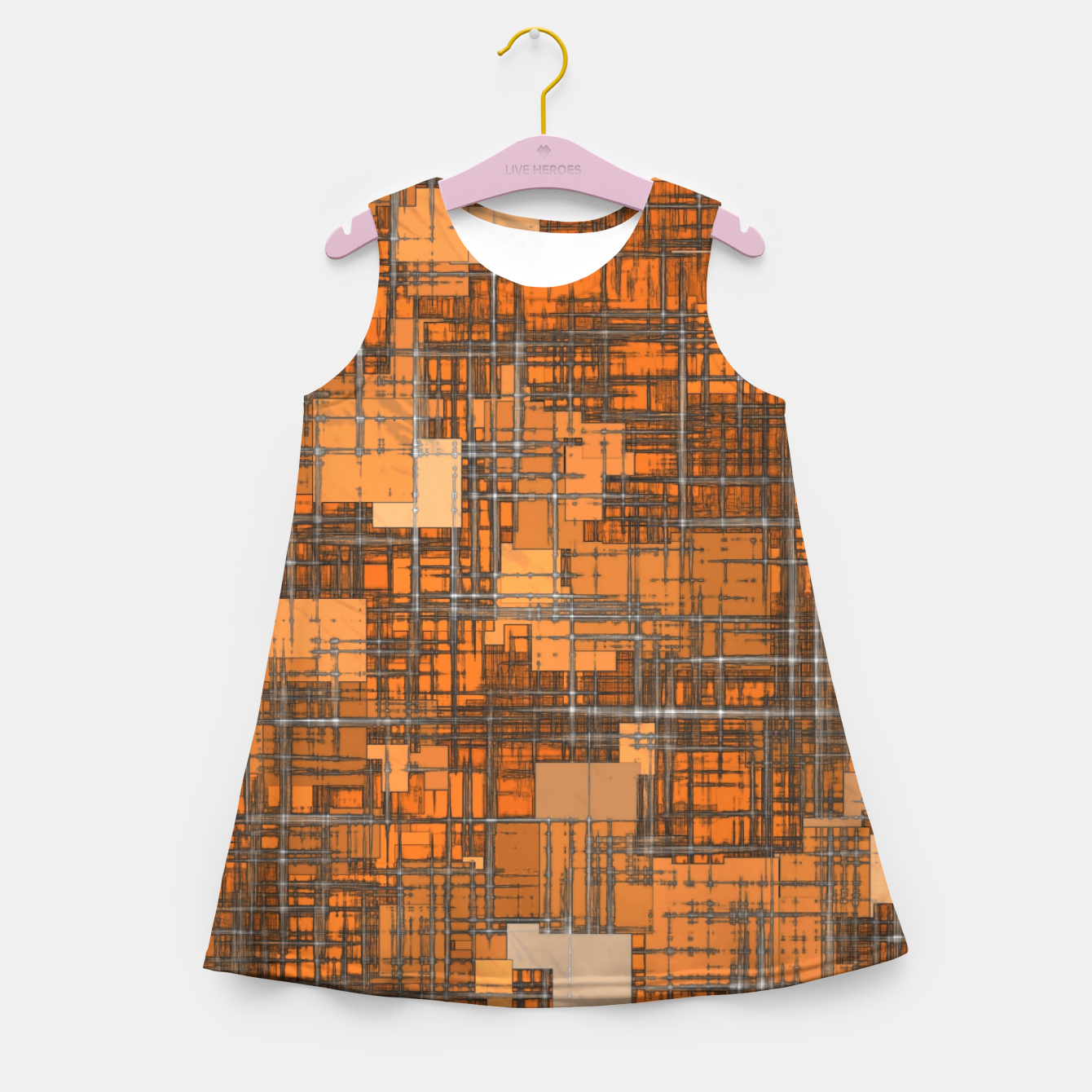 Image of geometric square pattern abstract background in orange and brown Girl's summer dress - Live Heroes