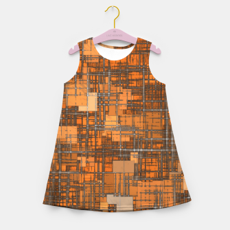 Miniatur geometric square pattern abstract background in orange and brown Girl's summer dress, Live Heroes