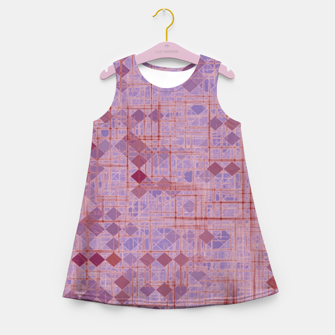 Image of geometric square pixel pattern abstract in pink and purple Girl's summer dress - Live Heroes