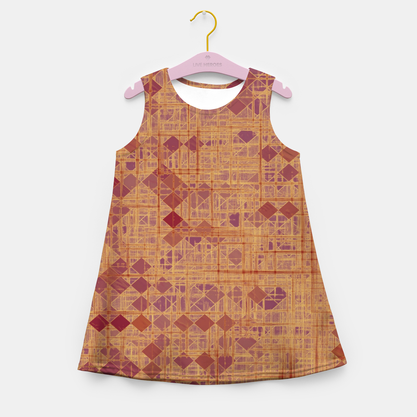 Image of geometric square pixel pattern abstract in brown and pink Girl's summer dress - Live Heroes