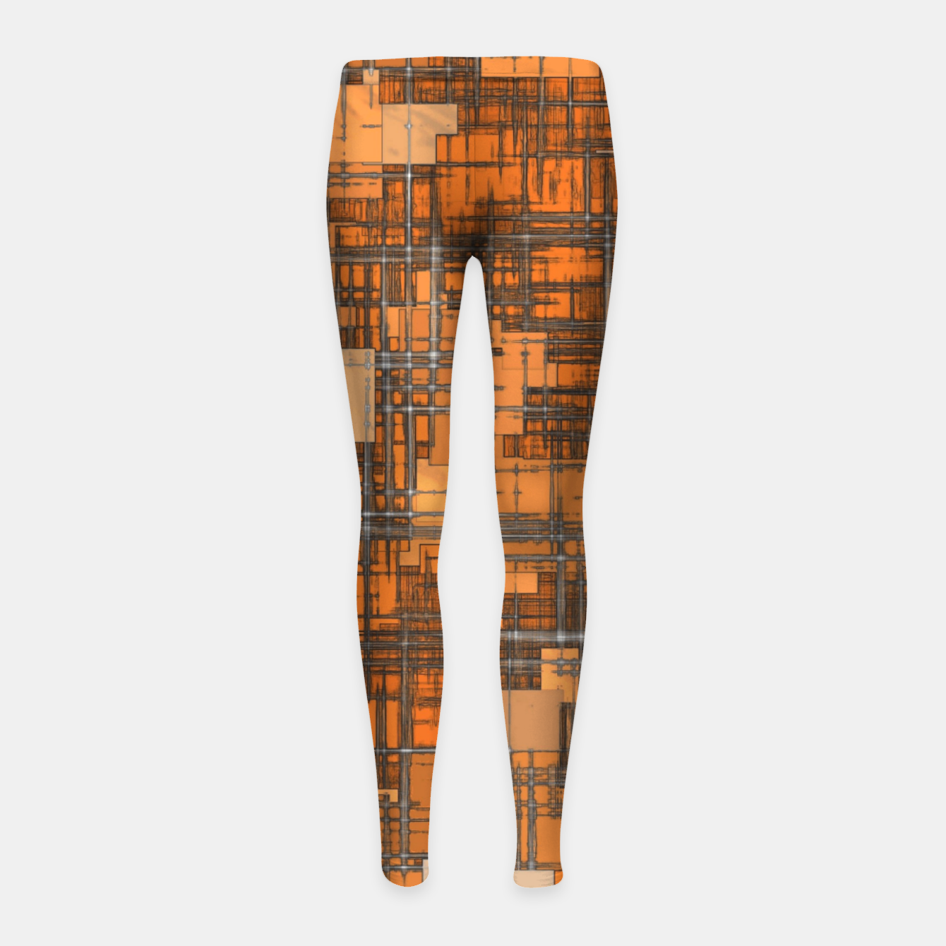 Image of geometric square pattern abstract background in orange and brown Girl's leggings - Live Heroes