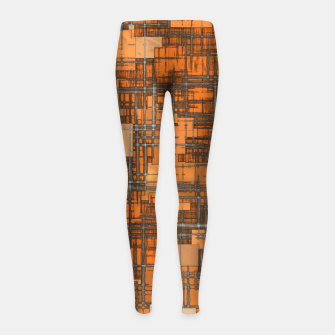 geometric square pattern abstract background in orange and brown Girl's leggings thumbnail image
