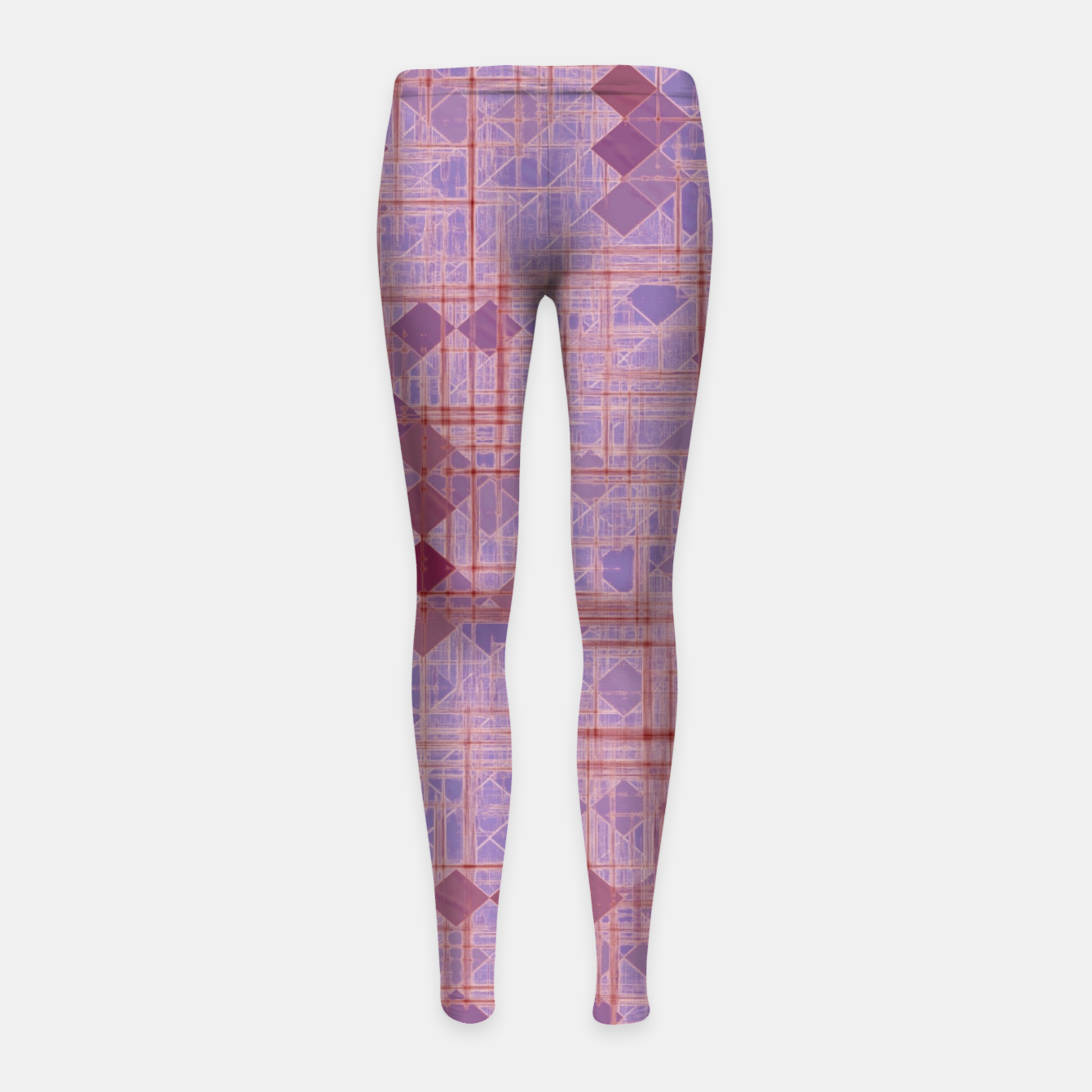 Image of geometric square pixel pattern abstract in pink and purple Girl's leggings - Live Heroes