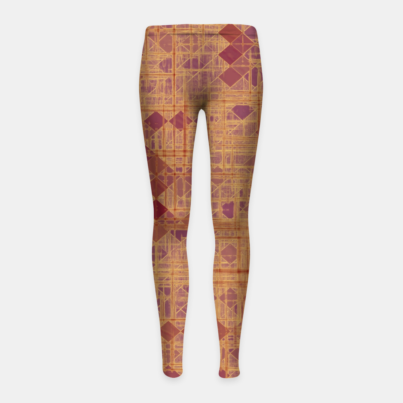Image of geometric square pixel pattern abstract in brown and pink Girl's leggings - Live Heroes